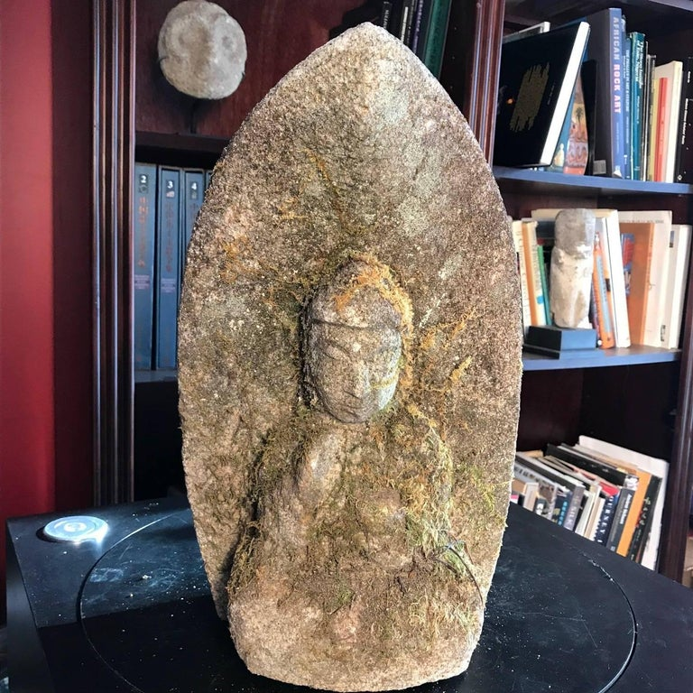Japanese Antique Stone Buddha Hand-Carved Serene Face, 19th Century In Good Condition For Sale In Shelburne, VT