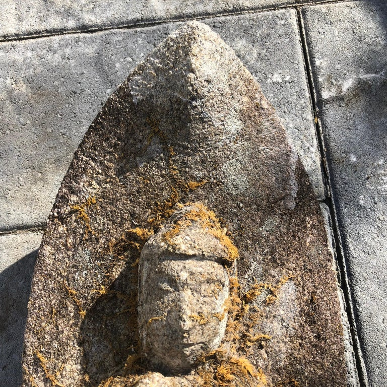 Japanese Antique Stone Buddha Hand-Carved Serene Face, 19th Century For Sale 1