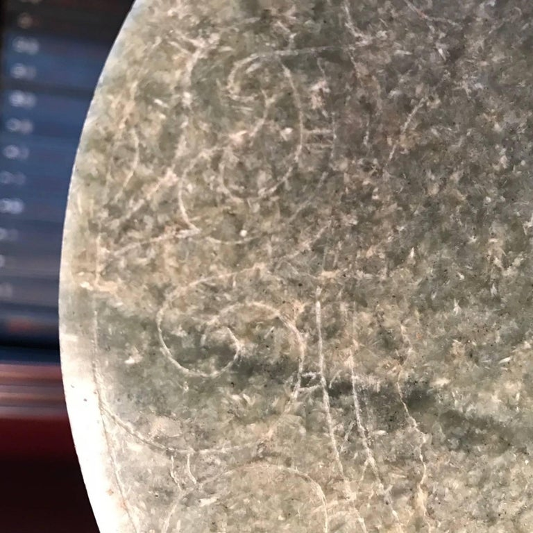 Polished Important Ancient China Jade Bi Disc, Han Dynasty 206 BC-220 AD For Sale