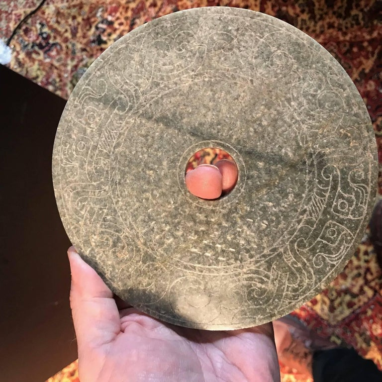 Important Ancient China Jade Bi Disc, Han Dynasty 206 BC-220 AD For Sale 2