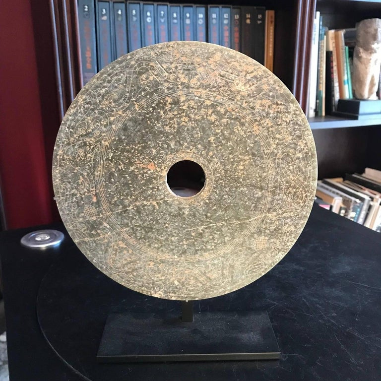 Chinese Important Ancient China Jade Bi Disc, Han Dynasty 206 BC- 220 AD, #2 For Sale