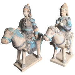 Ancient Imperial China Ming Pair of Horse Riders with Archery Bow and Axe