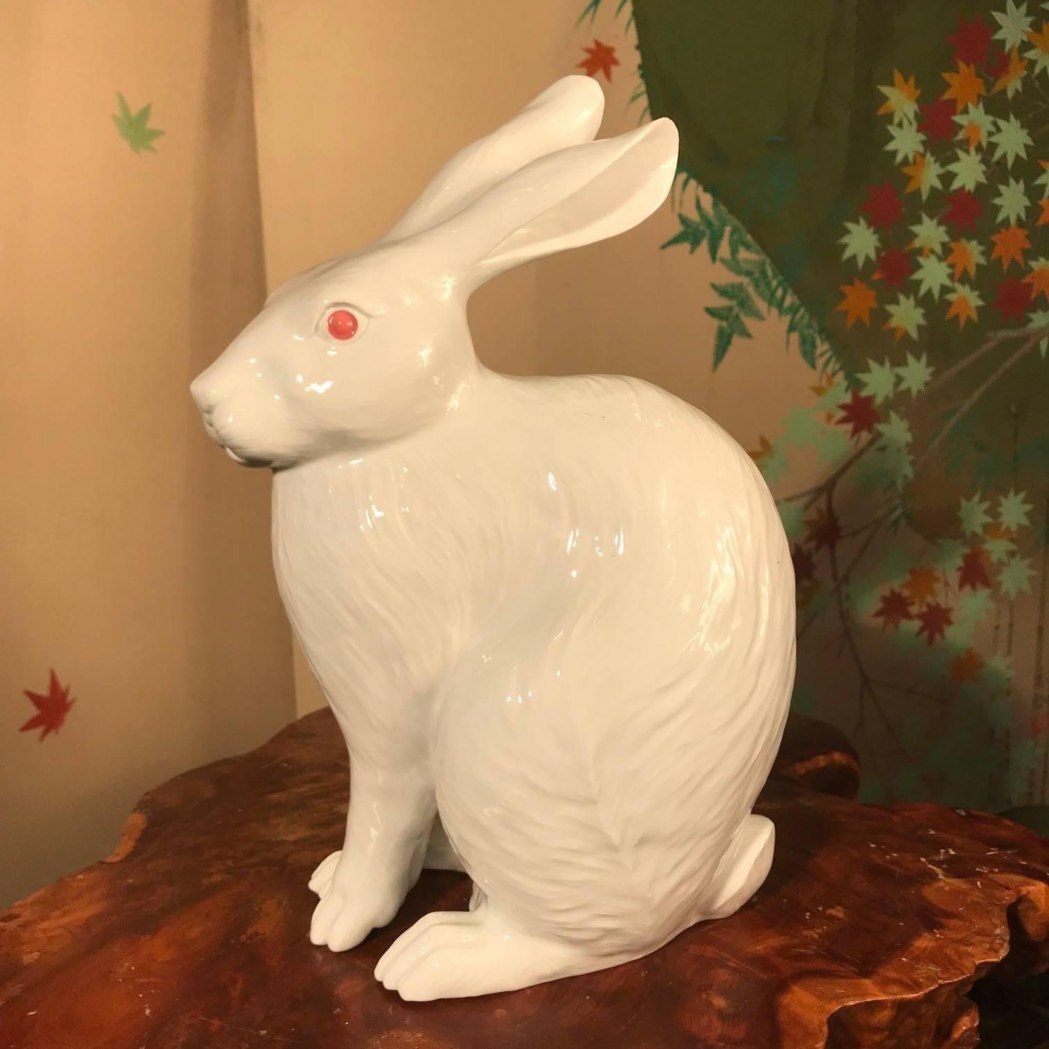 Japanese Big Pure White Rabbit Tallest Sculpture, Signed Nabeshima ...