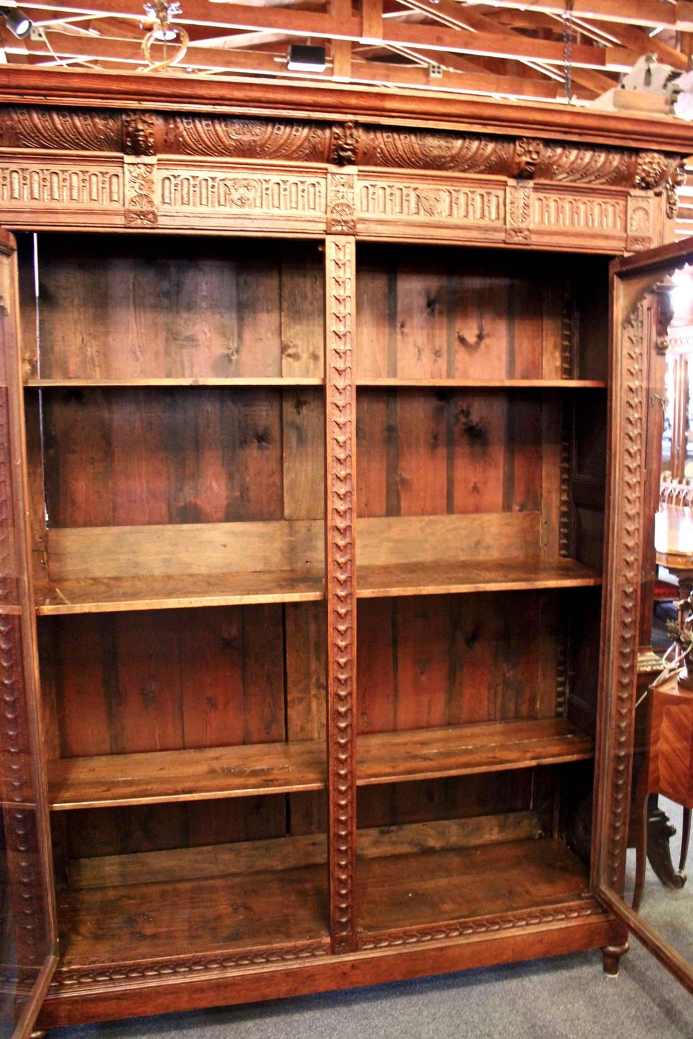 Hand Carved Bookshelf ~ Hand carved bookcase with glass door display for sale at