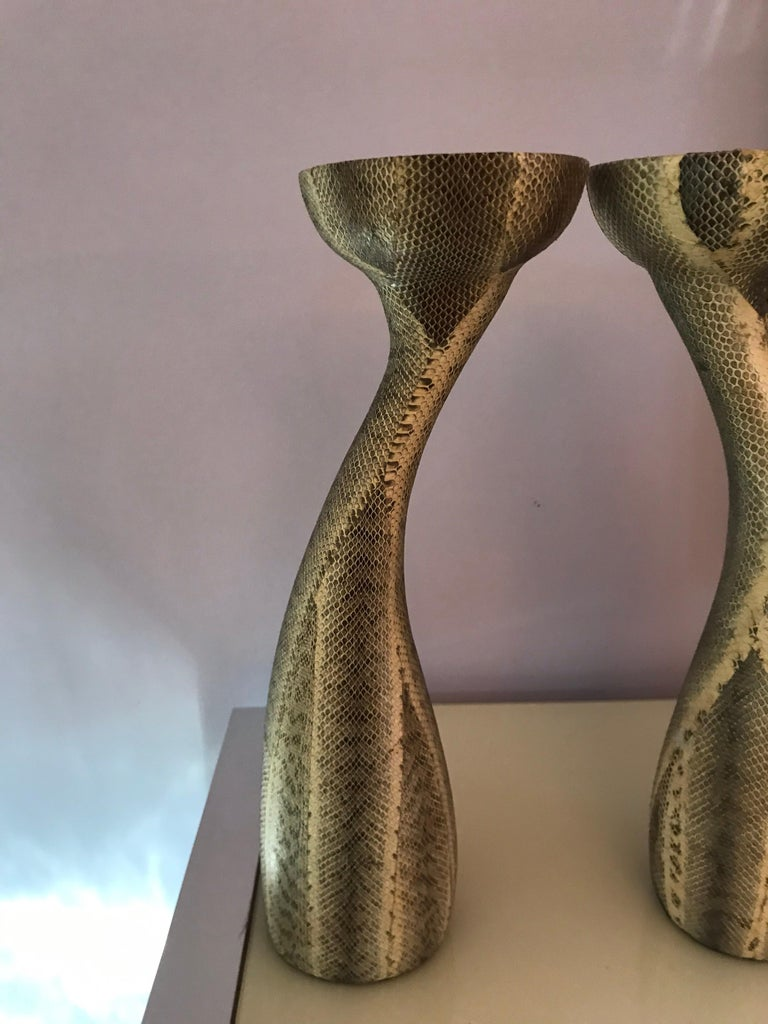 Snakeskin Candlesticks by Luisa Robison In Good Condition For Sale In Chicago, IL