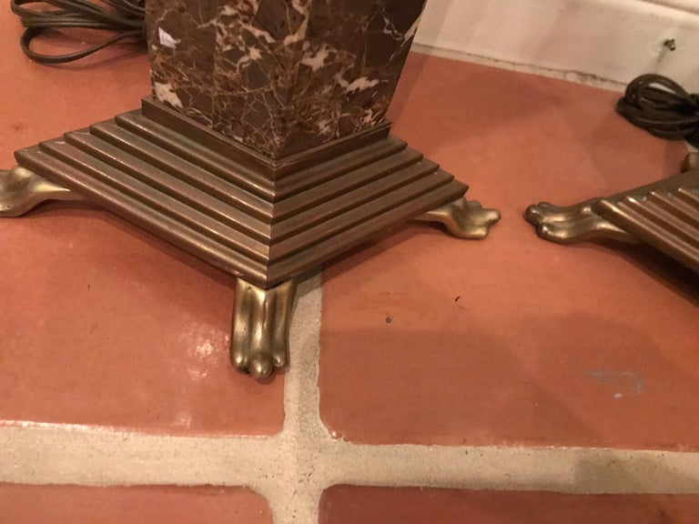 American Chapman Brown Marble and Brass Lamps For Sale