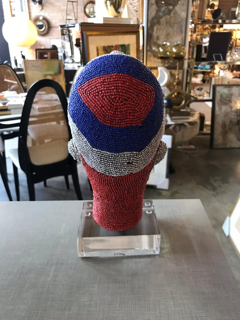 Cameroonian African Beaded Head from Cameroon For Sale