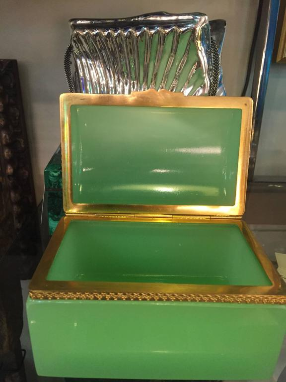 Late 19th Century French 19th Century Green Opaline Box For Sale