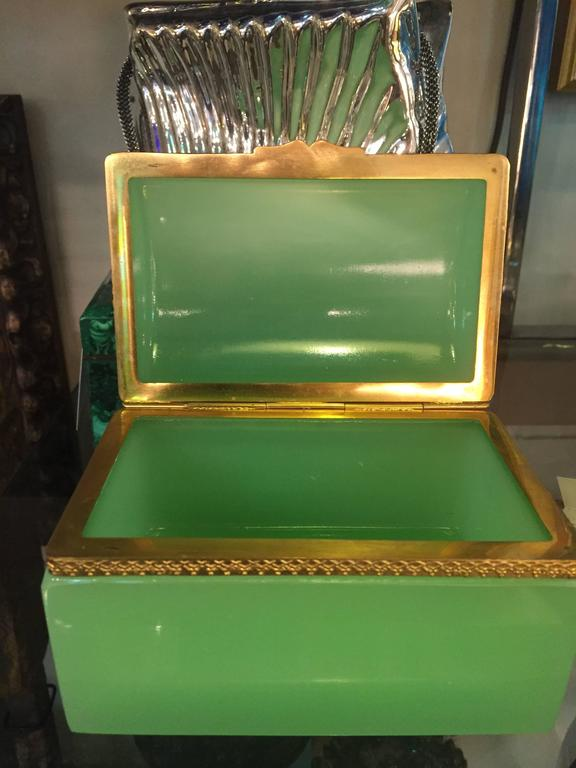Bronze French 19th Century Green Opaline Box For Sale