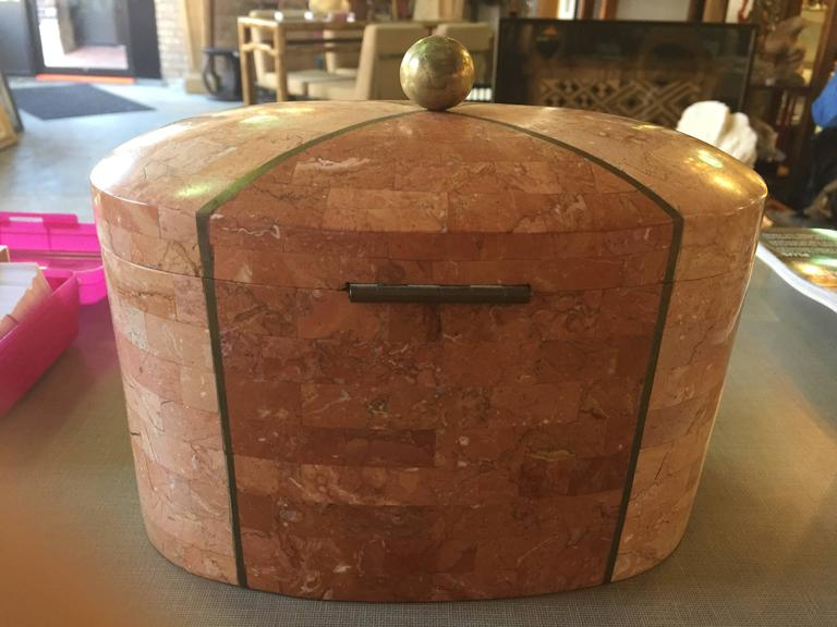 Maitland-Smith Tessellated Marble Box In Excellent Condition For Sale In Chicago, IL