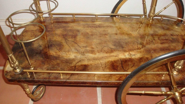 Aldo Tura Goatskin Bar Cart In Excellent Condition For Sale In Chicago, IL