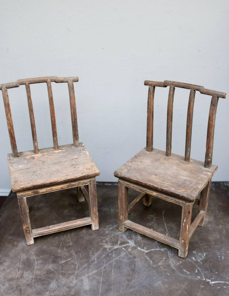 Pair of Children Chairs Made in Old Chinese Elm Wood 2