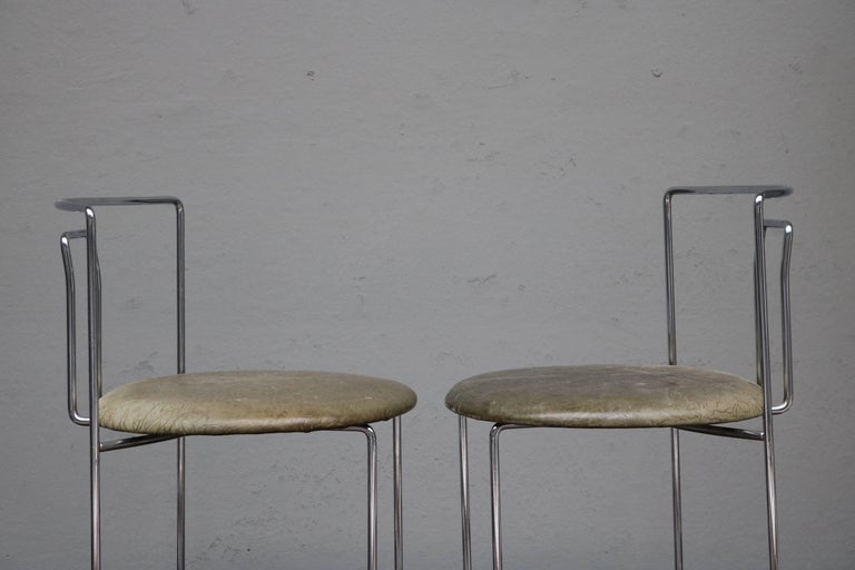 Four Kazuhide Takahama Chairs in Leather and Chrome-Plated Steel from 1960s 6