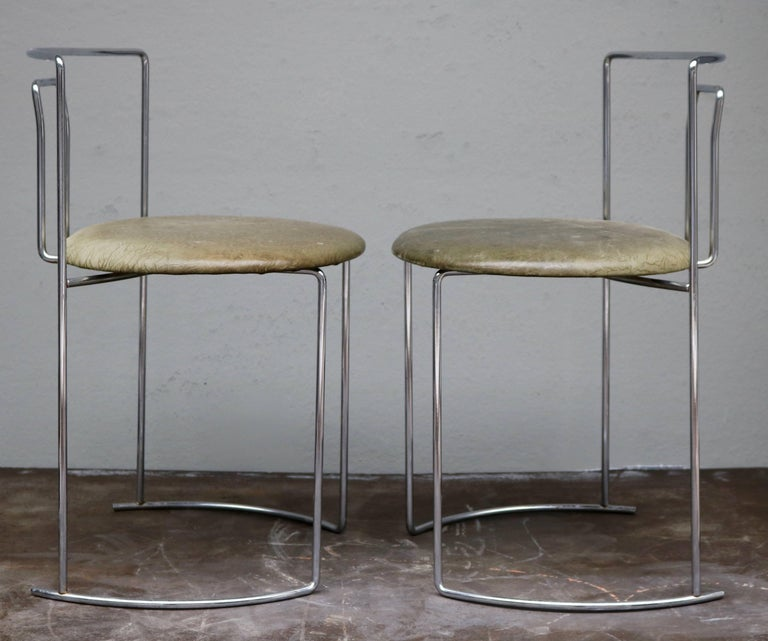 Four Kazuhide Takahama Chairs in Leather and Chrome-Plated Steel from 1960s 3