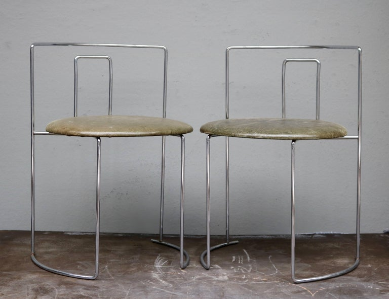 Japanese Four Kazuhide Takahama Chairs in Leather and Chrome-Plated Steel from 1960s For Sale