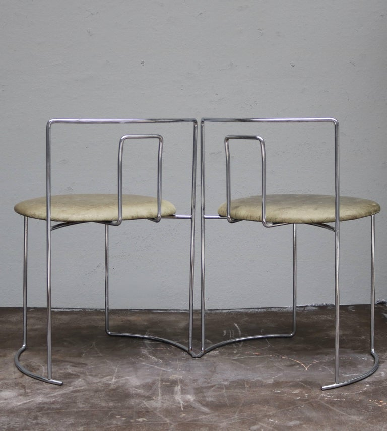 Four Kazuhide Takahama Chairs in Leather and Chrome-Plated Steel from 1960s 5