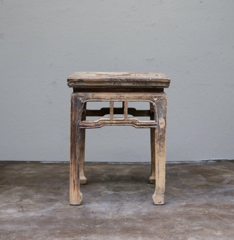 Ancient Chinese Wooden Stool From The Shanxi Province For