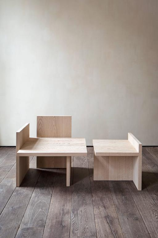 Modern Shelf Armchair and Table Set in Natural Oak For Sale