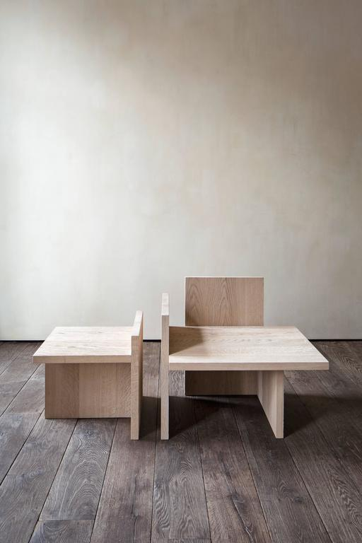 European Shelf Armchair and Table Set in Natural Oak For Sale
