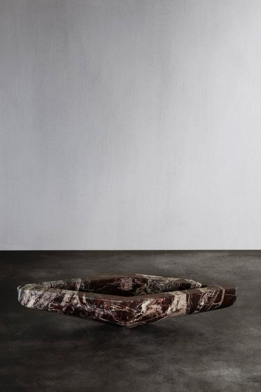 Beautiful tray in Rosso Levanto marble from Belgian designer Michaël Verheyden.