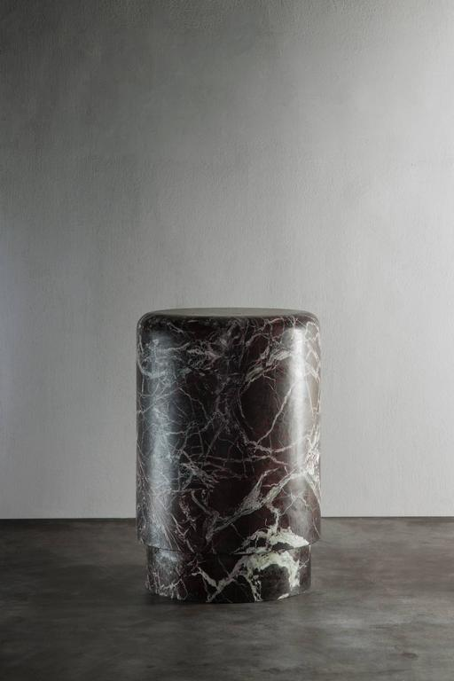 Pouf/Small Table in dark bordeaux Marble from Michaël Verheyden 2