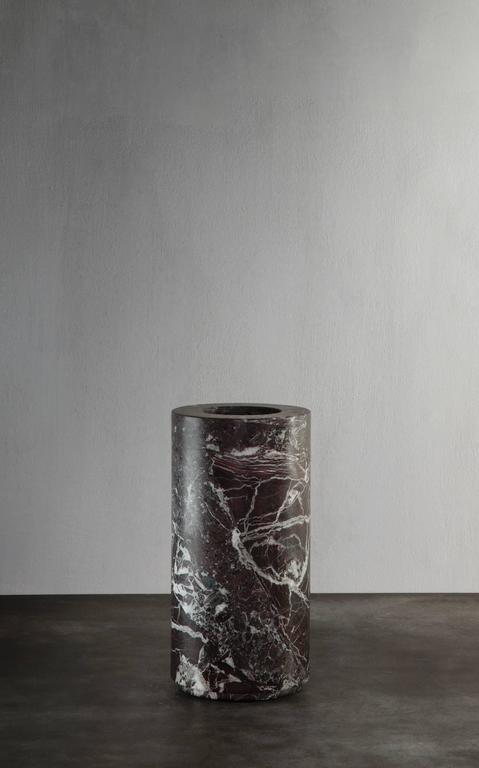 Large Cylindrical Shaped Vase in dark bordeaux marble from Michaël Verheyden 2