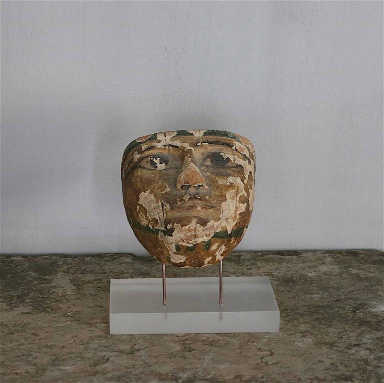 Ancient Mummy Mask in Carved Wood 2
