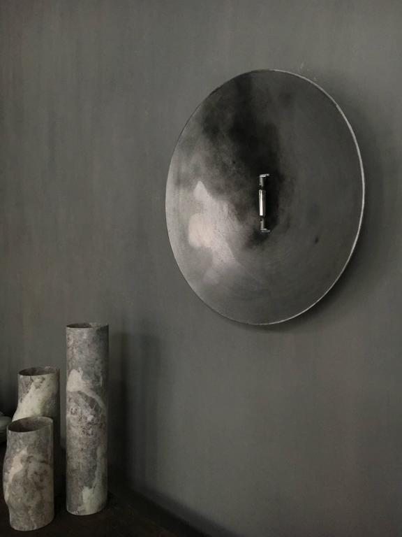 'Circuit' wall light by Danish designer Kevin Josias. The lamp is made of sandcast aluminium with black patina treatment. Limited edition of 30 pieces. All pieces made with unique treatments.