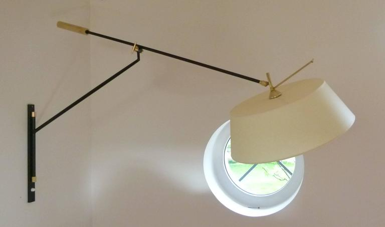 1950s Large Suspended Sconce Mounted on Patella by Maison Lunel 2