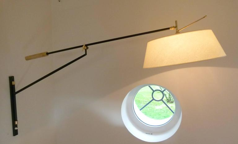 1950s Large Suspended Sconce Mounted on Patella by Maison Lunel 3