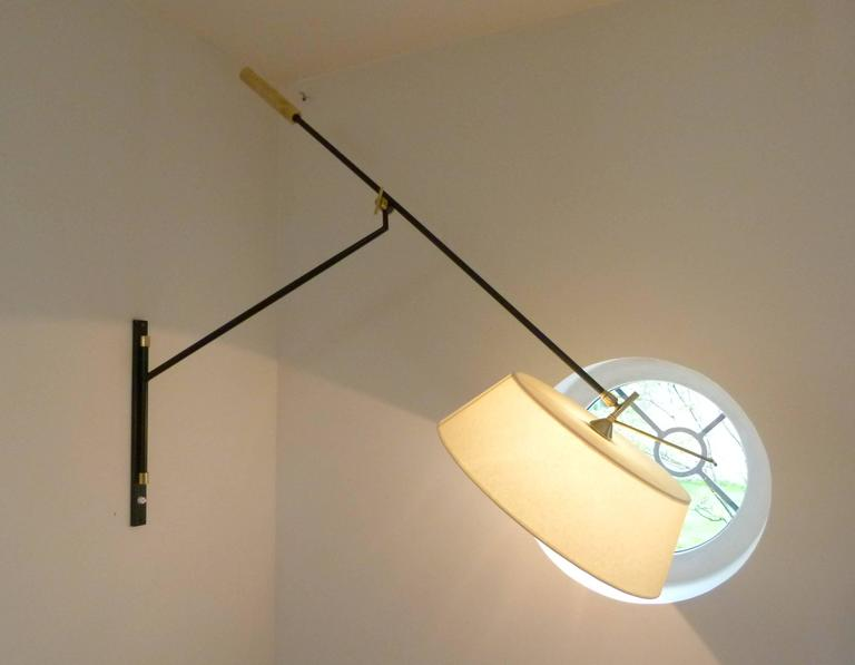 1950s Large Suspended Sconce Mounted on Patella by Maison Lunel 8