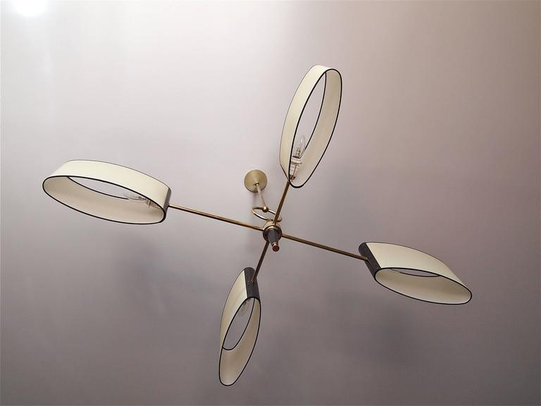 1950s Chandelier With Shifted Lighted Arms By Maison Lunel