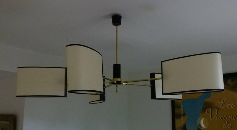 1950s Circular Chandelier with Five Lighted Arms by Maison Lunel 3