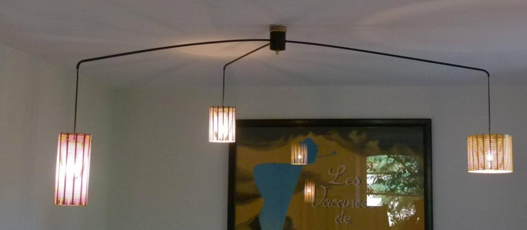 Mobile Italian 1950s Asymmetrical Metal Chandelier with Colored Lampshades 2