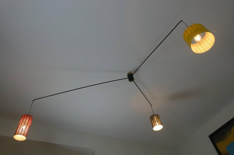 Mobile Italian 1950s Asymmetrical Metal Chandelier with Colored Lampshades 3
