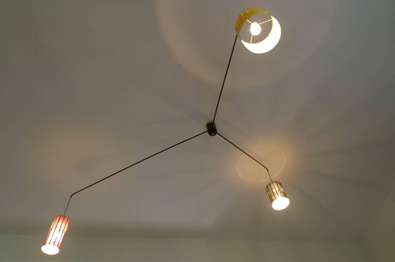 Mobile Italian 1950s Asymmetrical Metal Chandelier with Colored Lampshades 4