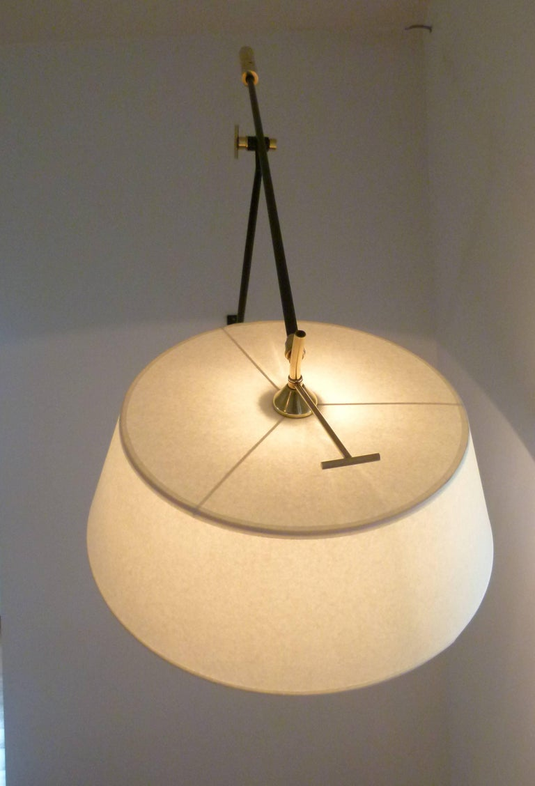 Pair of 1950s Large Suspended Sconces Mounted on Patella by Maison Lunel For Sale 4