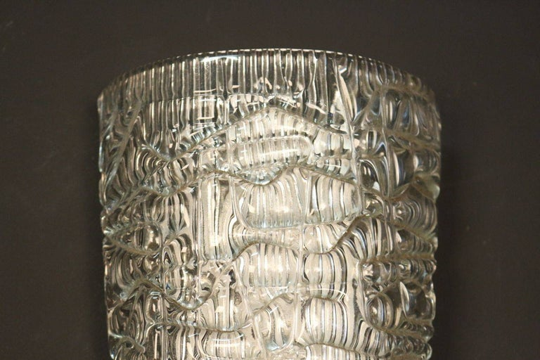 French Pair of Pressed and Molded Glass Sconces by Maison Arlus For Sale