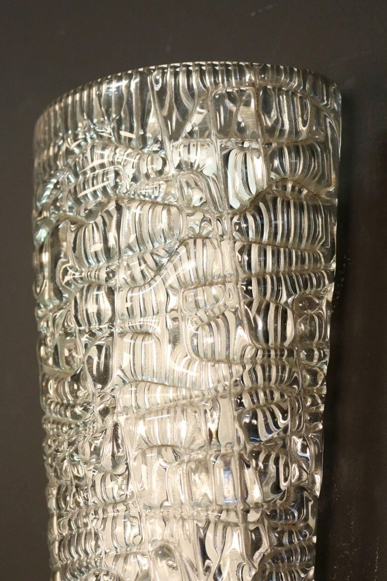 Pair of Pressed and Molded Glass Sconces by Maison Arlus In Excellent Condition For Sale In Saint-Ouen, FR