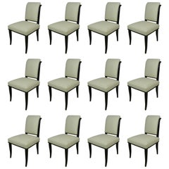 Set of 12 Art Deco Chairs by Alfred Porteneuve