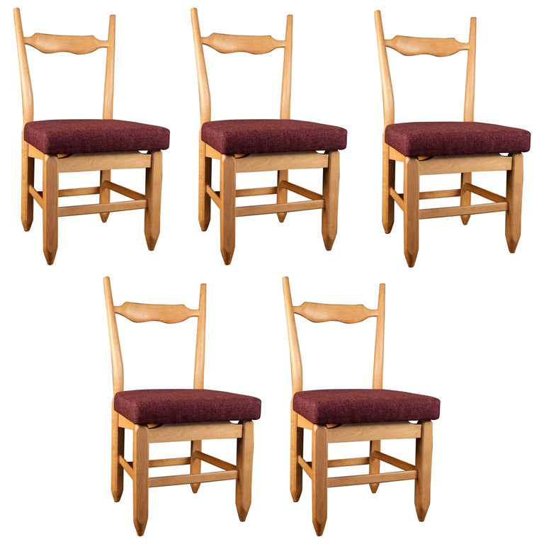 Set of Eight Chairs by Guillerme et Chambron For Sale
