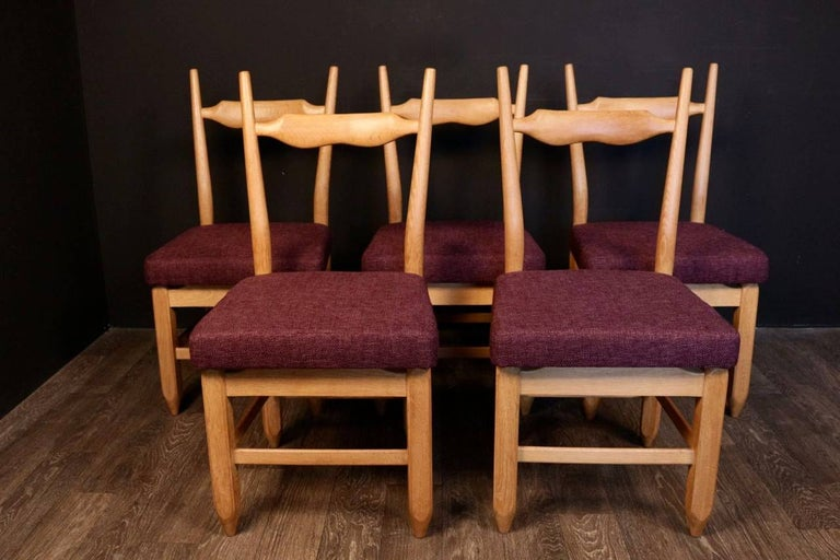 Mid-20th Century Set of Eight Chairs by Guillerme et Chambron For Sale