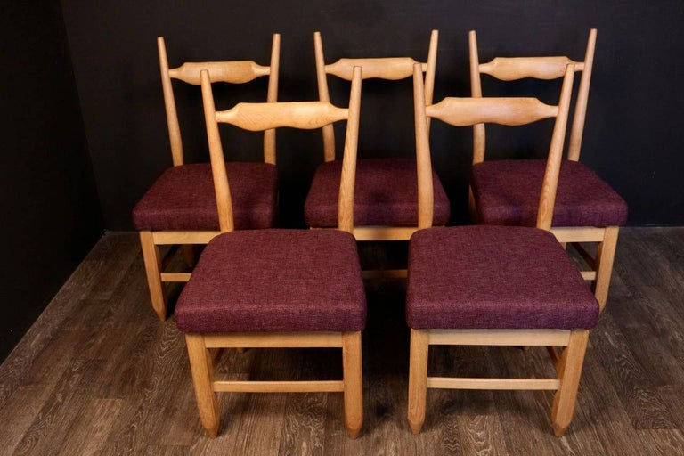 Set of Eight Chairs by Guillerme et Chambron For Sale 1