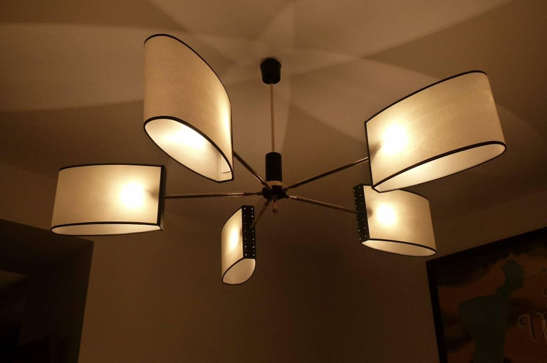 1950s Circular Chandelier with Five Lighted Arms by Maison Lunel 9