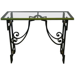 Wrought Iron Wrought and Glass Top Console Work French, circa 1950