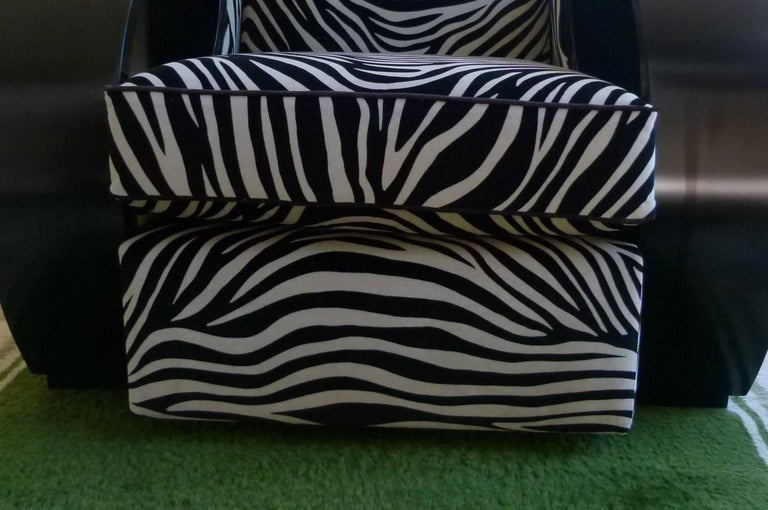 Pair of Large Art Deco Armchairs in Black Lacquer For Sale 5