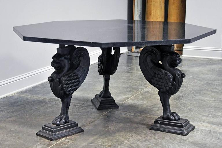 Octagonal granite table on cast iron griffin base for sale for Cast iron furniture legs for sale