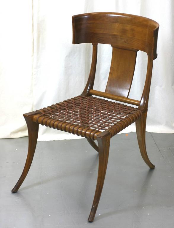 Leather T.H. Robsjohn-Gibbings Klismos Chairs by Saridis, Athens For Sale