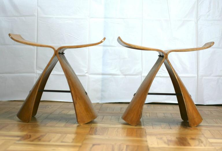 Japanese Pair of Sori Yanagi Butterfly Stools For Sale