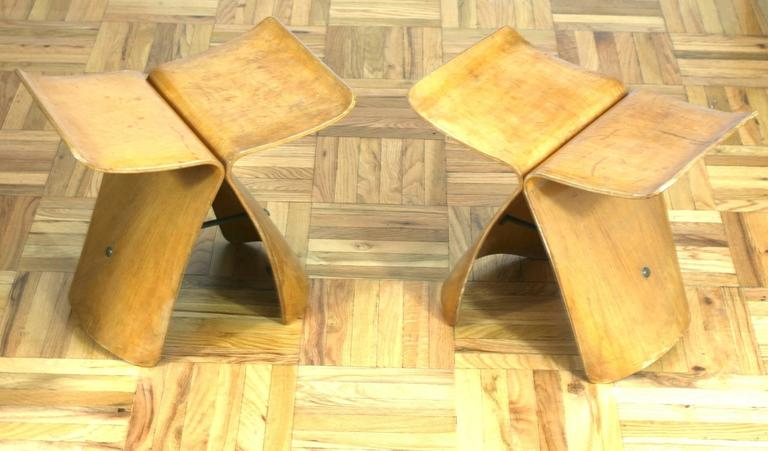 Modern Pair of Sori Yanagi Butterfly Stools For Sale